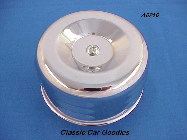 Chrome Air Filter Louvered Can 2 5/8 Neck Stromberg