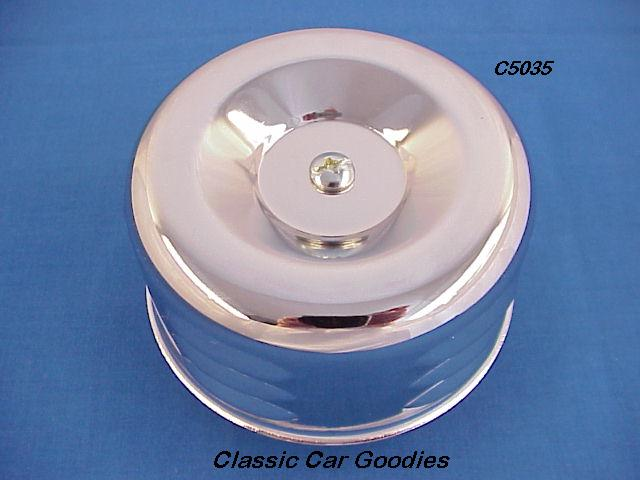Chrome Air Filter Louvered Can 2 5/16 Neck Rochester Chevy 6