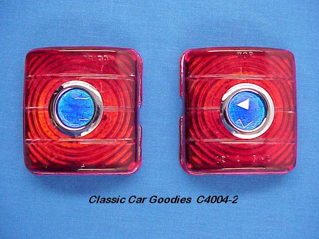 1951-1952 Chevy Glass Tail Light Lens (2) Glass Blue Dots