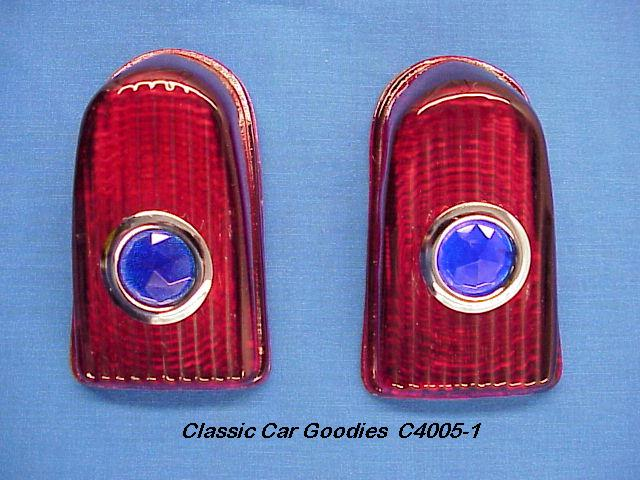 1949-1950 Chevy Tail Light Lenses (2) Glass. Blue Dots.