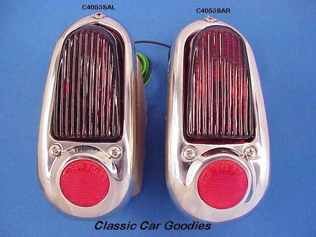 1949-1950 Chevy Tail Lights (2) Ass'y. Stainless Bezel