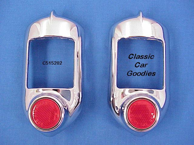 1951-1952 Chevy Tail Light Housings (2) Show Chrome. New!