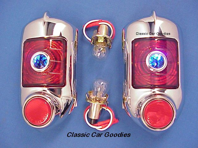 1951-1952 Chevy Tail Lights (2) Blue Dot w Gaskets