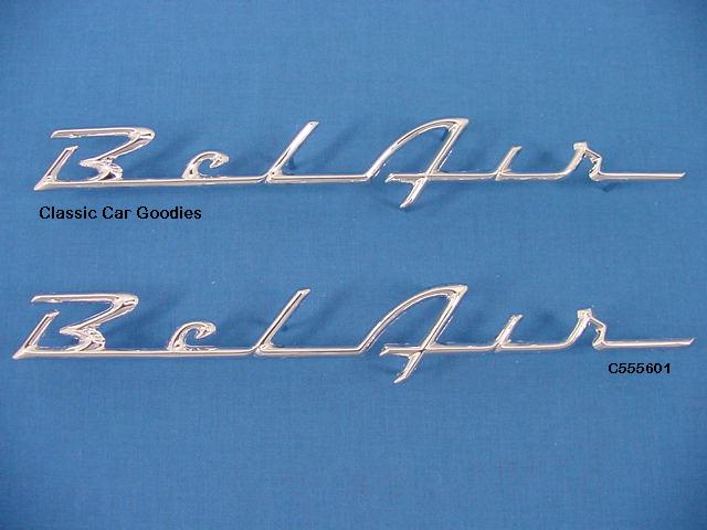 1955 1956 Chevy Belair Chrome Side Scripts (2) New!