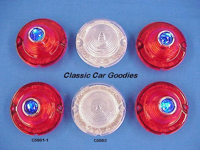 1958 Chevy Blue Dot Tail/Back Up Lens Set (6) for Impala