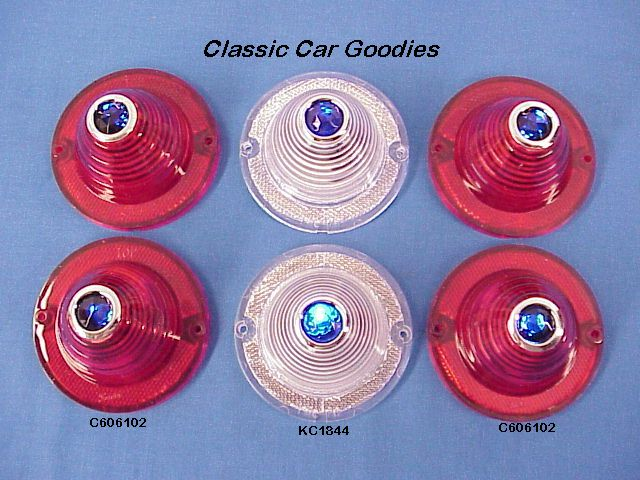 1960-1961 Chevy Blue Dot Tail & Back Up Lenses Impala