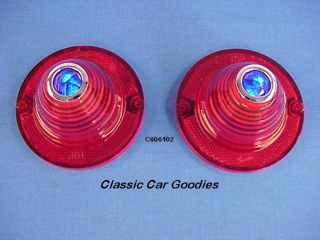 1960 1961 Chevy Tail Light Lenses Blue Dots New Pair!