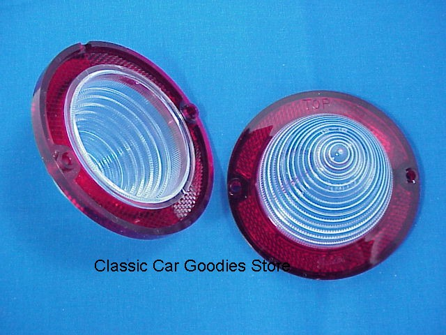 1960-1961 Chevy Back Up Light Lens. (2) Red Reflector. Brand New!