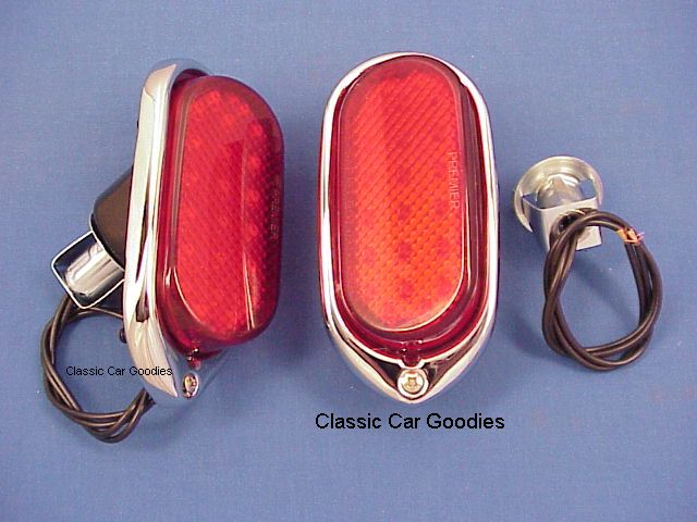 1940 Chevy 22 LED Tail Lights (2) Chrome Bezel Blk Body
