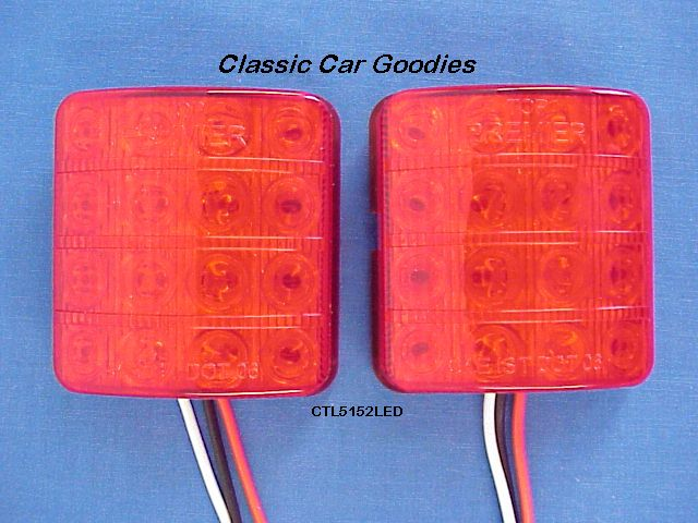 1951-1952 Chevy Red LED Tail Light Inserts (2) 12V New!