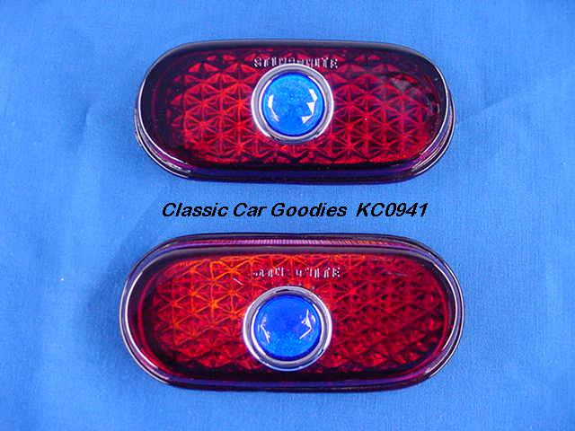 1940 Chevy Glass Tail Light Lenses (2) Glass Blue Dots