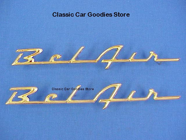 1957 Chevy Belair Gold Side Scripts (2) New Pair