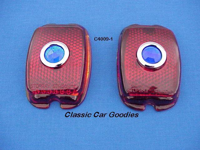 1947-1949 Chevy Truck Tail Light Lens (2) Glass. Blue Dot 1948