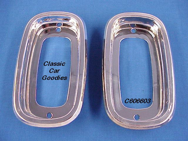 1963-1965 Chevy Truck Tail Light Bezels (2) 1964 Fleetside New