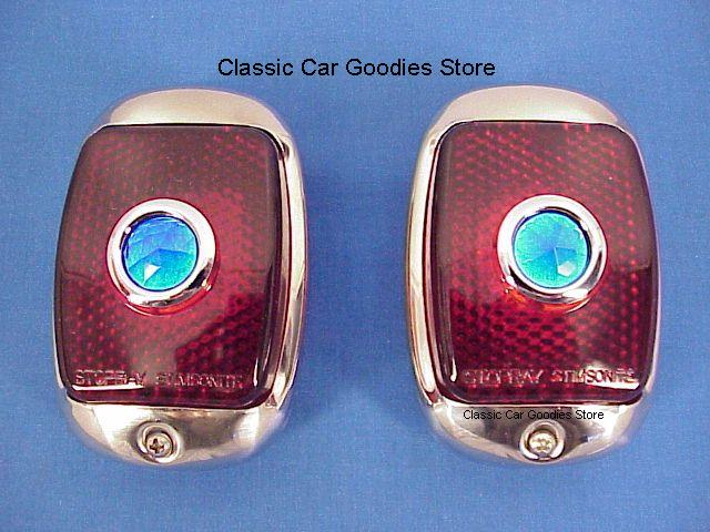 1947-1948 Chevy Truck Tail Lights (2) Stainless. Glass. Blue Dots!