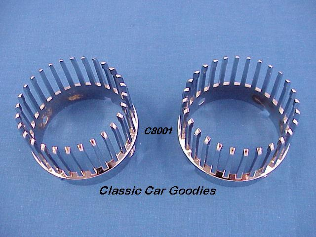 1959 Cadillac Tail Light Bezels (2) Chrome Metal New!