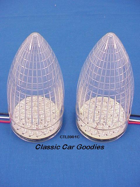 1959 Cadillac Tail lights (2) 40 Red Led Clear Lens New
