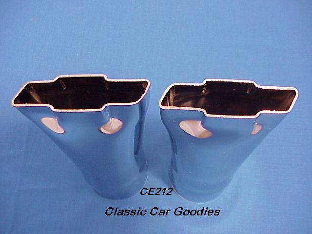 Exhaust Tips (2) Chevy Bowtie Logo Chrome 2.5 In 1949 1950 1951 1952 1953