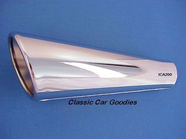 Exhaust Tip (1) Chrome Rolled Angle Tail Pipe 2 x 11