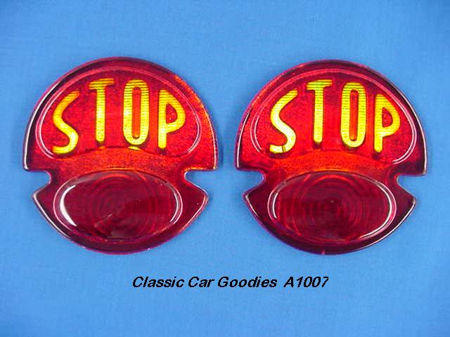 1928-1931 Ford STOP Light Lenses Glass Pair 1929 1930