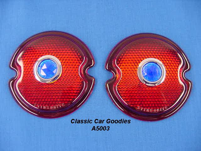 1933-1936 Ford Tail Light Lens (2) Blue Dots 1934 1935 Glass