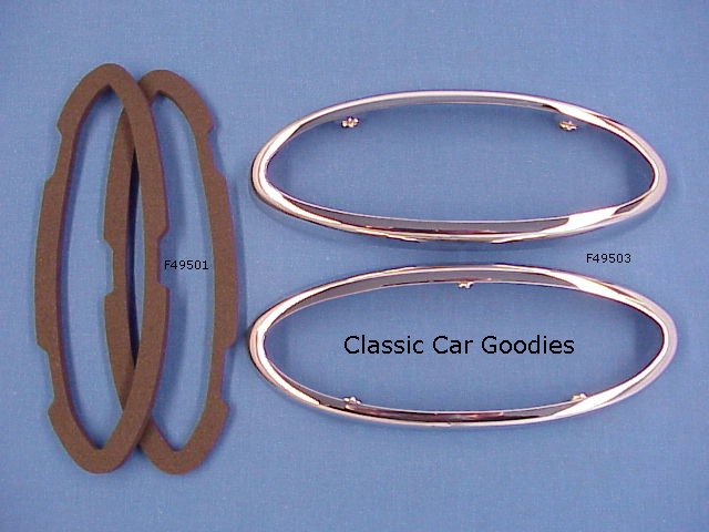 1949-1950 Ford Tail Light Bezels & Gaskets SHOW CHROME!