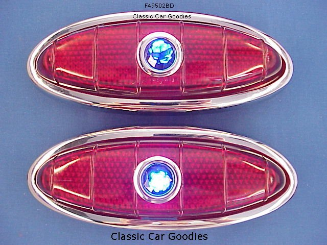 1949-1950 Ford Tail Lights (2) Glass Lenses! Blue Dots!