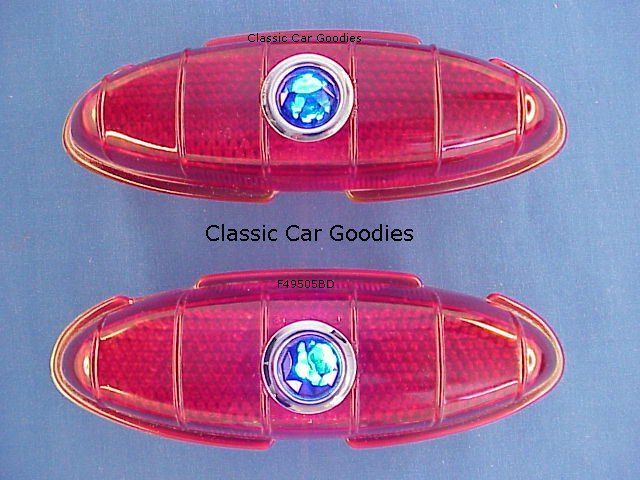 1949-1950 Ford Tail Light Lenses (2) Glass! Blue Dots!