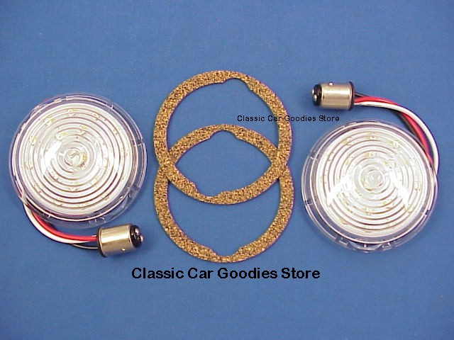 1942-1947 Ford Truck Led Park Lights Amber 12V Clear Lens (2) FREE GASKETS 1946