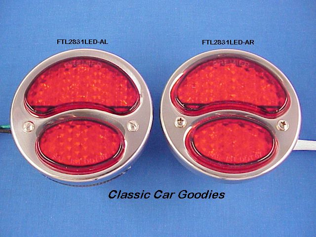 1928-1931 Ford Led Tail Light (2) Stainless Steel 1929 1930