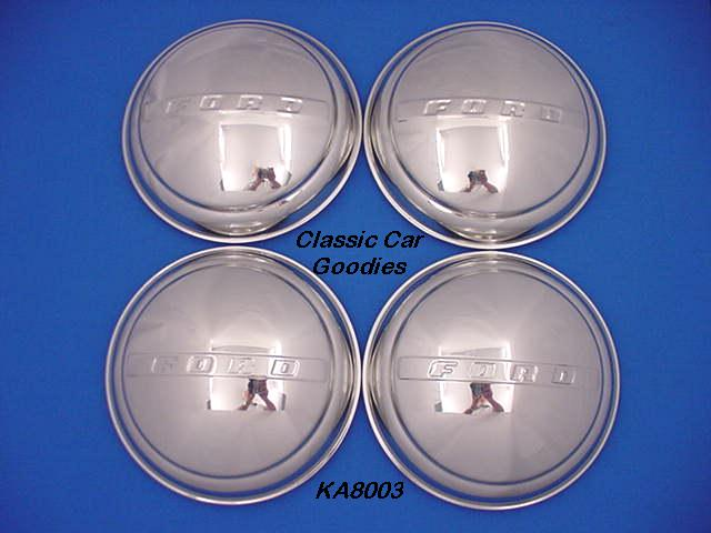 1947-1948 Ford Car Hub Caps (4) Stainless Steel
