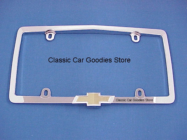 License Plate Frame. Chevy Raised Bowtie. Classic. Chrome. Brand New!