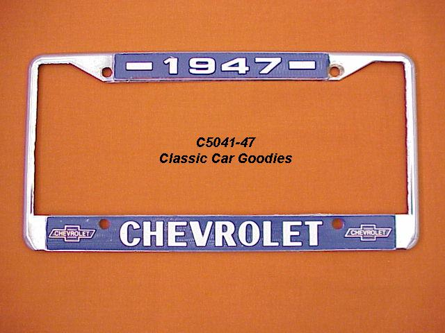 1947 Chevy Bowtie License Plate Frame Chrome. Metal.