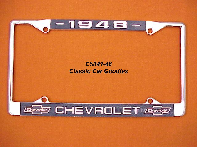 1948 Chevy Bowtie License Plate Frame Chrome. Metal.