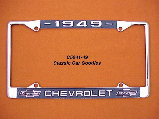 1949 Chevy Bowtie License Plate Frame Chrome. Metal.