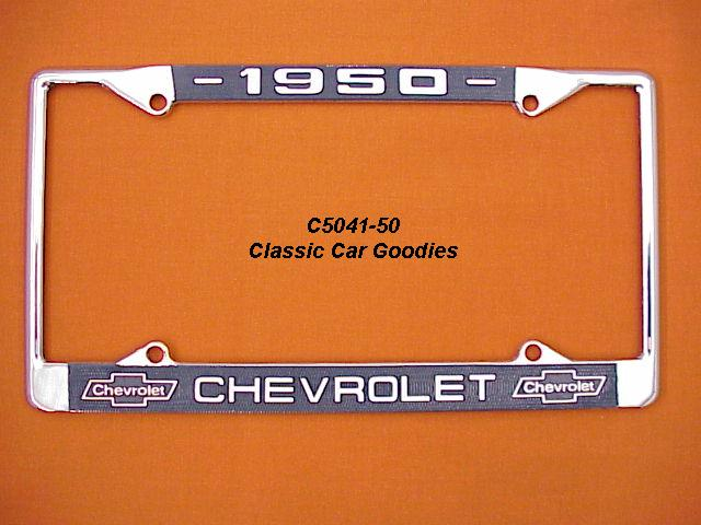 1950 Chevy Bowtie License Plate Frame Chrome. Metal.