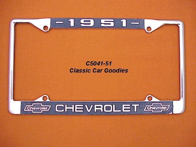 1951 Chevy Bowtie License Plate Frame Chrome. Metal.
