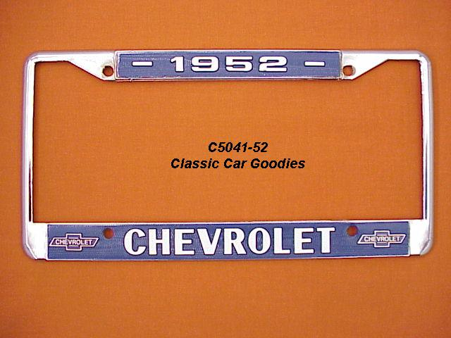 1952 Chevy Bowtie License Plate Frame Chrome. Metal.