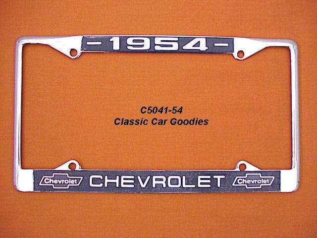 1954 Chevy Bowtie License Plate Frame Chrome. Metal.