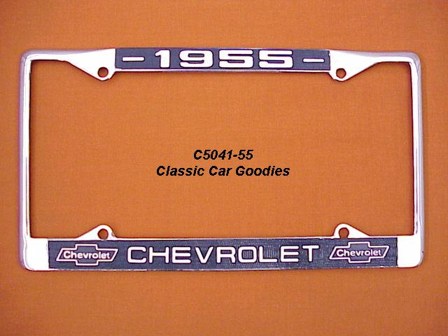 1955 Chevy Bowtie License Plate Frame Chrome. Metal.