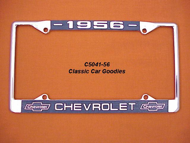 1956 Chevy Bowtie License Plate Frame Chrome. Metal.