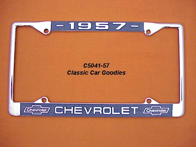 1957 Chevy Bowtie License Plate Frame Chrome. Metal.