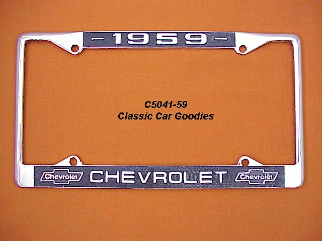1959 Chevy Bowtie License Plate Frame Chrome. Metal.
