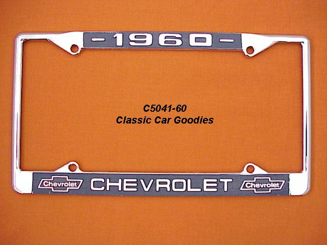 1960 Chevy Bowtie License Plate Frame Chrome. Metal.