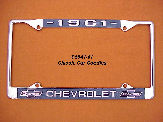 1961 Chevy Bowtie License Plate Frame Chrome. Metal.