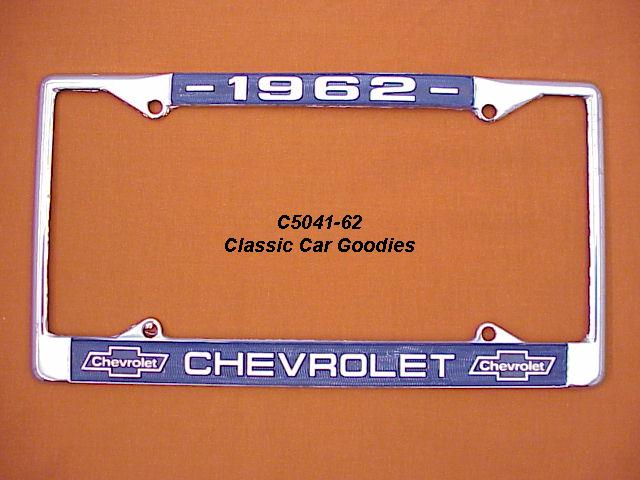 1962 Chevy Bowtie License Plate Frame Chrome. Metal.