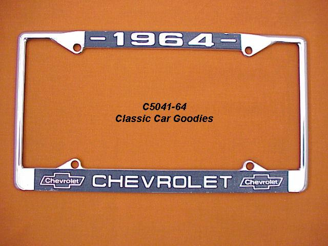 1964 Chevy Bowtie License Plate Frame Chrome. Metal.