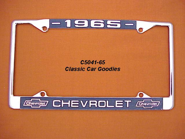1965 Chevy Bowtie License Plate Frame Chrome. Metal.