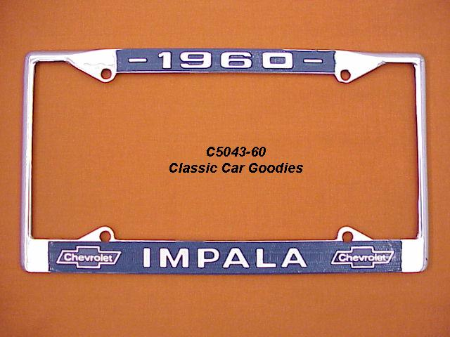 1960 Chevy Impala License Plate Frame Chrome. Metal.