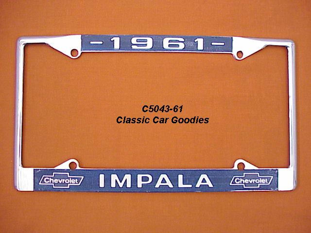 1961 Chevy Impala License Plate Frame Chrome. Metal.